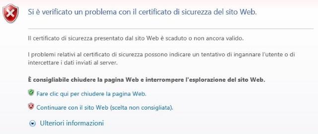 Problema con il certificato di sicurezza del sito web