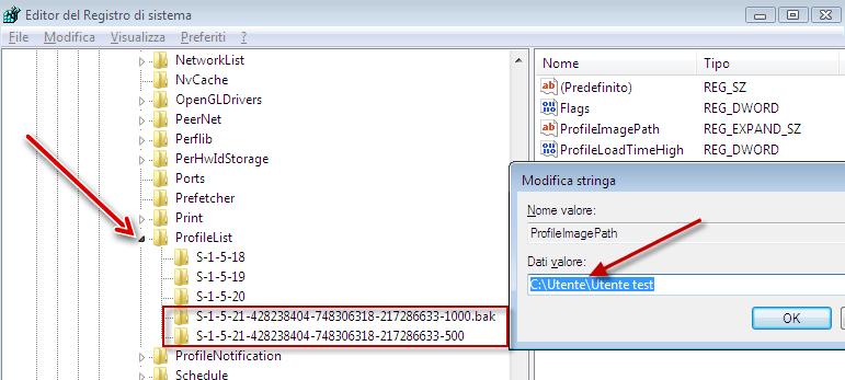 accesso del servizio profilo utente non riuscito