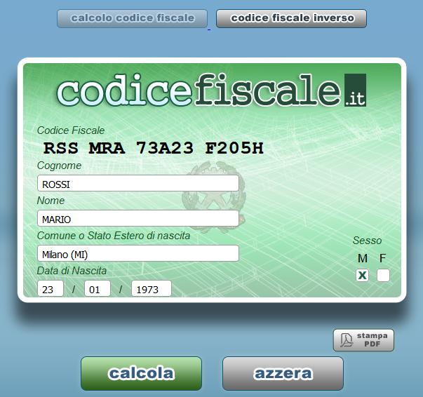 Calcolo Codice Fiscale Online