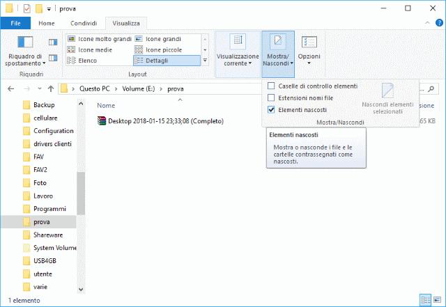Visualizzare cartelle nascoste Windows 10