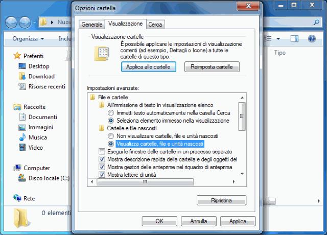 Visualizzare cartelle nascoste Windows 7