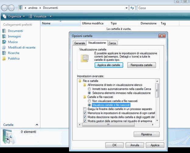 Visualizzare cartelle nascoste Windows Vista