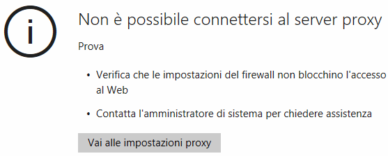 Non è possibile connettersi al server proxy Edge